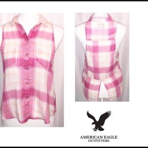 American Eagle Blouse Pink Plaid Sleeveless Size S